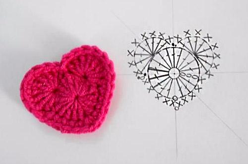 Схемы вязания крючком сердечек с описанием 762