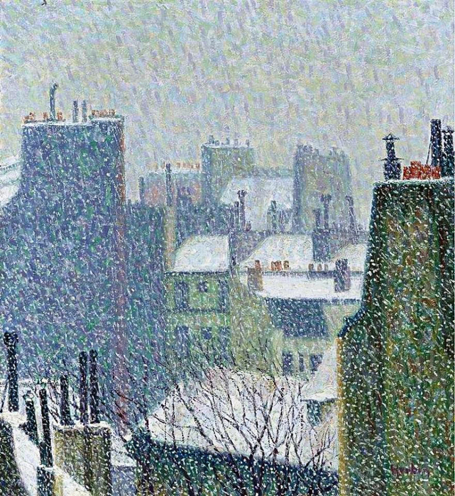Auguste Herbin - The Roofs of Paris under the Snow (641x700, 637Kb)