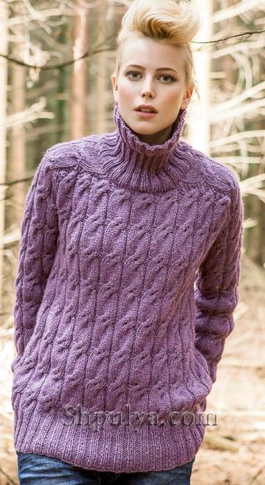 лиловый женский свитер с косами обсуждение на Liveinternet