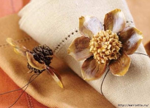Цветы из шишек, семечек, листьев кукурузы, фисташек и макарон (3) (589x427, 152Kb)