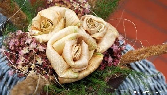 Цветы из шишек, семечек, листьев кукурузы, фисташек и макарон (25) (545x312, 154Kb)