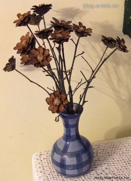 Цветы из шишек, семечек, листьев кукурузы, фисташек и макарон (26) (450x620, 161Kb)