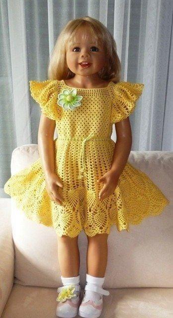 Как связать крылышки для детского платья