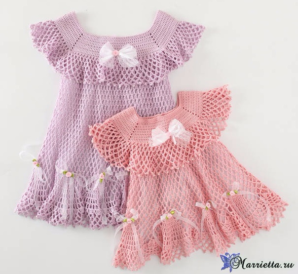 Нарядное платьице крючком для маленькой принцессы (2) (604x555, 299Kb)