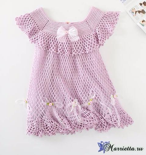 Нарядное платьице крючком для маленькой принцессы (8) (479x507, 225Kb)
