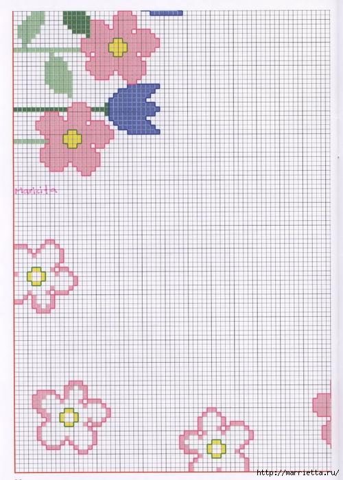 Нежная весенняя вышивка для скатерти. Схемы (10) (500x700, 279Kb)