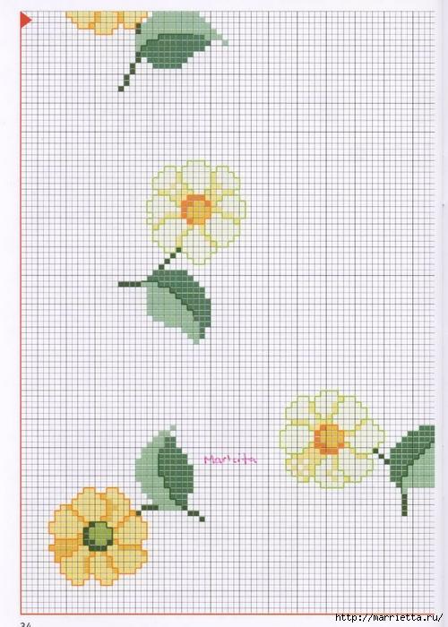 Нежная весенняя вышивка для скатерти. Схемы (12) (500x700, 269Kb)