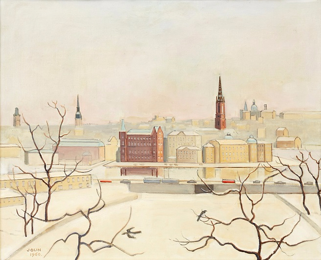 Зимний вид на Риддархольмен (Winter view over Riddarholmen). 1960 (656x531, 311Kb)