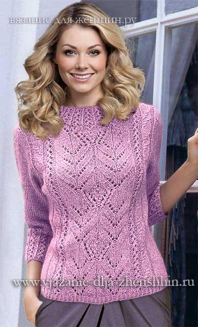 пуловер для женщины спицами