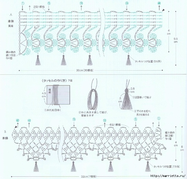 Кружевная тесьма крючком. Схемы вязания (3) (644x616, 262Kb)