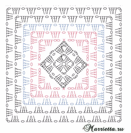 Элегантный плед крючком бабушкиными квадратами (6) (420x428, 224Kb)