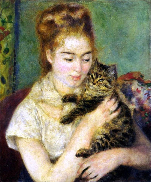 RENOIR.Woman with a cat.-1875 (581x700, 486Kb)