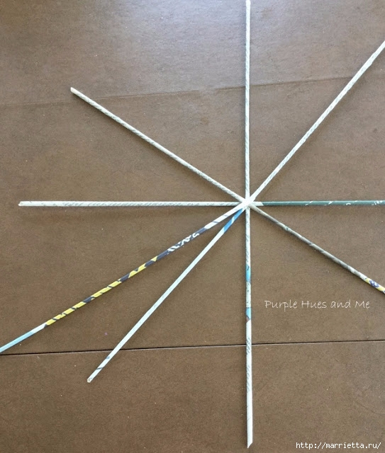 Плетение из газет корзинки-паутинки. Фото мастер-класс (6) (543x640, 197Kb)