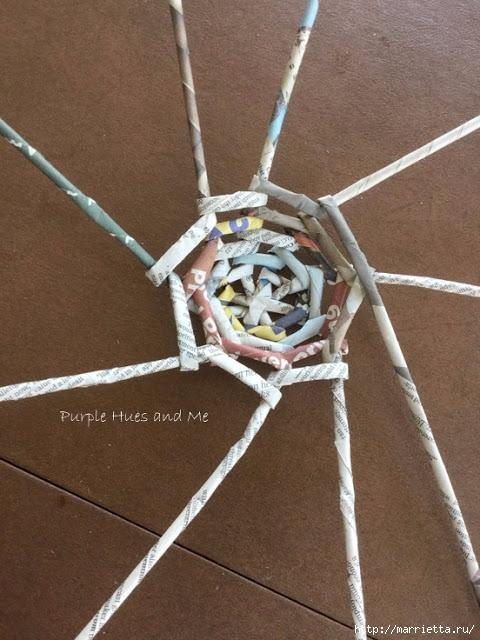 Плетение из газет корзинки-паутинки. Фото мастер-класс (12) (480x640, 214Kb)