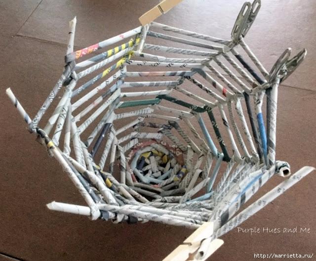 Плетение из газет корзинки-паутинки. Фото мастер-класс (14) (640x530, 239Kb)