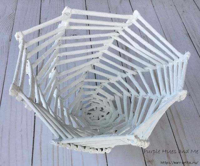 Плетение из газет корзинки-паутинки. Фото мастер-класс (18) (640x533, 204Kb)