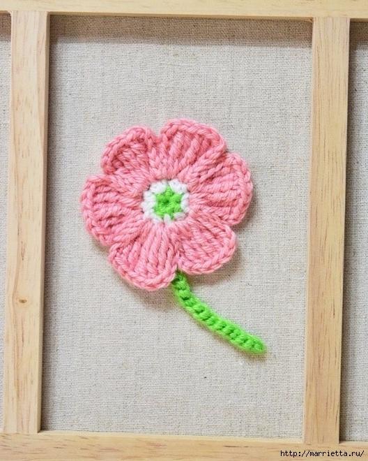 Декоративное панно с вязаными цветочками (11) (528x660, 292Kb)