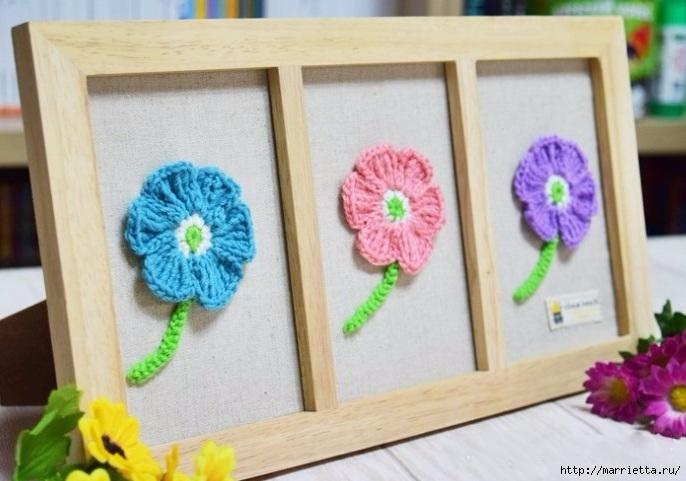 Декоративное панно с вязаными цветочками (13) (686x481, 177Kb)