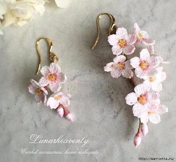 Вязаные украшения handmade. Веточка цветущего абрикоса (7) (591x544, 191Kb)