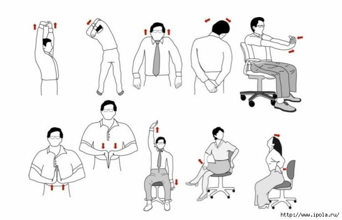 упражнения для похудения сидя на работе