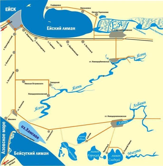 Карты рыболовных мест краснодарского края