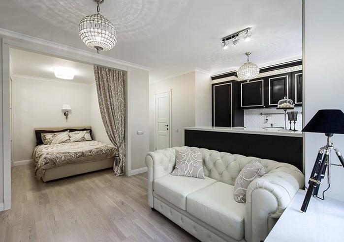 Изящное решение в интерьере однокомнатной квартиры