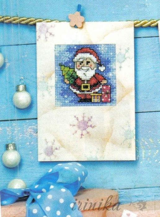 Вышивка для новогодних и рождественских открыток. Схемы