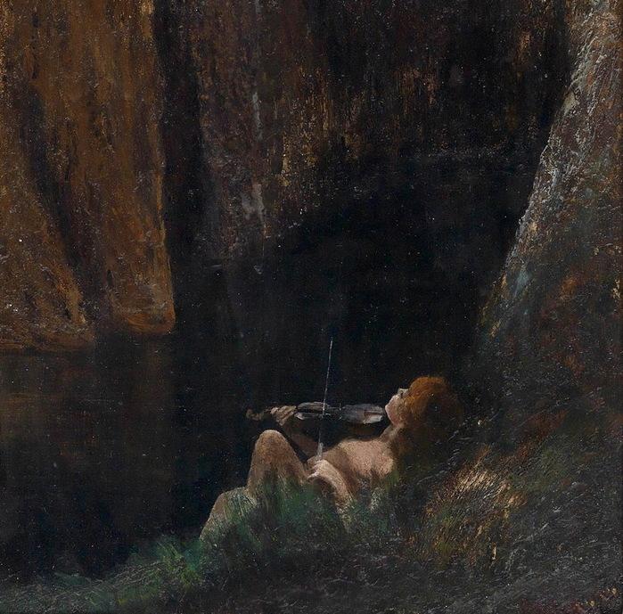 1913 Мальчик, играющий на скрипке. деталь (700x689, 195Kb)