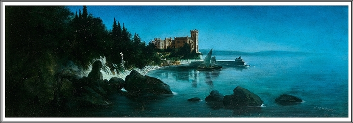 NEW Вид на Адриатическое побережье с замком Мирамаре. 1899 г. (700x244, 129Kb)