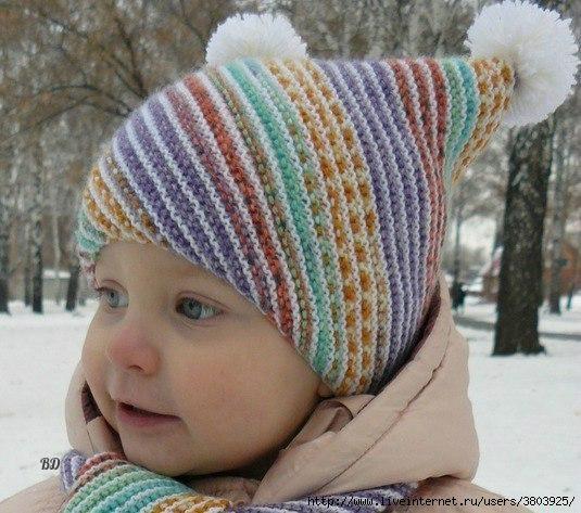 Классная детская шапочка и шарфик «По диагонали» — вяжется быстро и легко