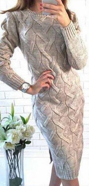Потрясающее вязаное платье с крупными косами — стильно, удобно и красиво