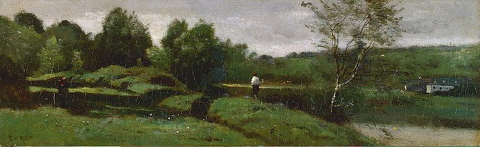 Jean-Baptiste Camille Corot - Landscape-with-a-Boy-in-a-White-Shirt, 1855-1960 (стр.24) (700x214, 69Kb)