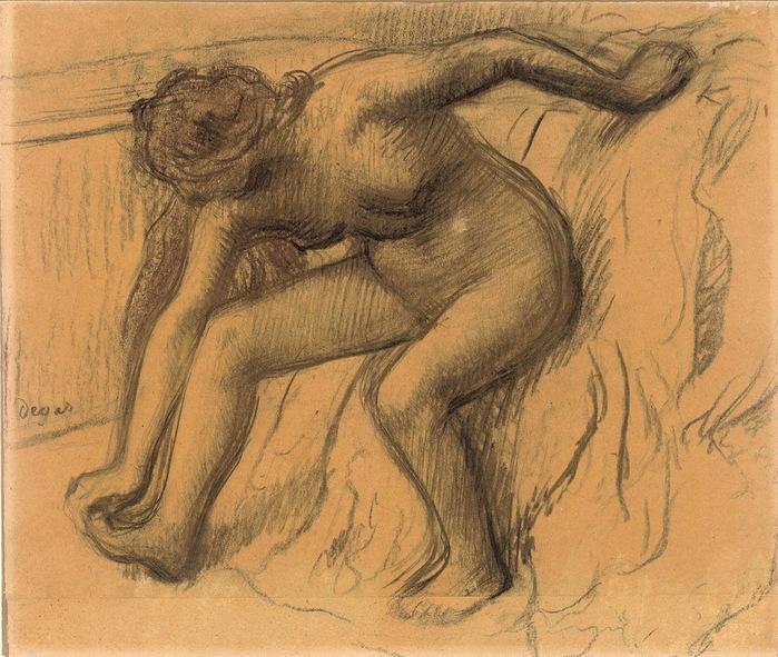 1890-е Вытирающаяся женщина. Бум, уголь, паст, гуашь 76x50,5  ГМИИ (700x591, 176Kb)