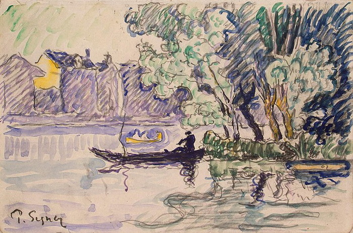 1900 Fisherman in a Boat Near a Bank of the Seine (700x462, 176Kb)