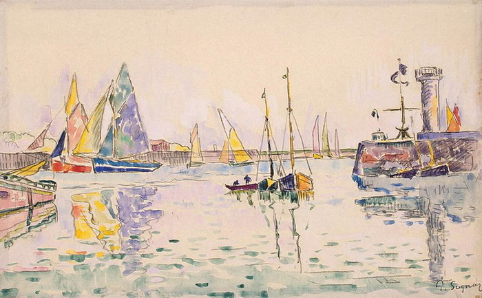 1920-е Sailboats-in-the-Harbor-of-Les-Sables-d-Olonne (700x433, 119Kb)