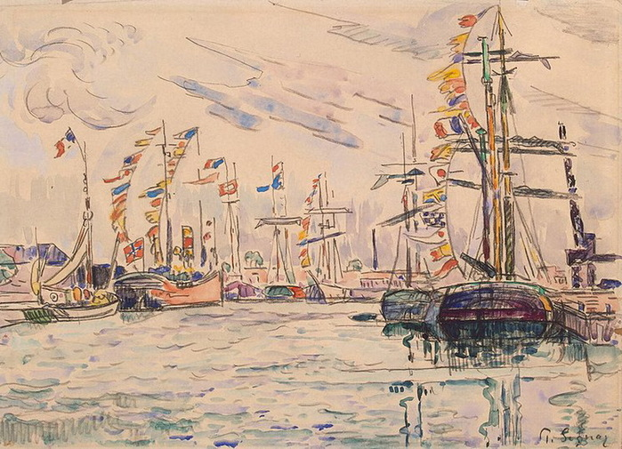 1920-е Sailboats-with-Holiday-Flags-at-a-Pier-in-Saint-Malo (700x505, 161Kb)