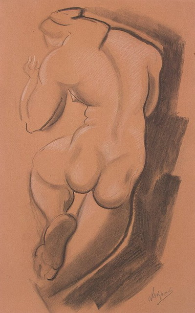 1920-е Nude Female Figure Shown from the Back (399x640, 92Kb)