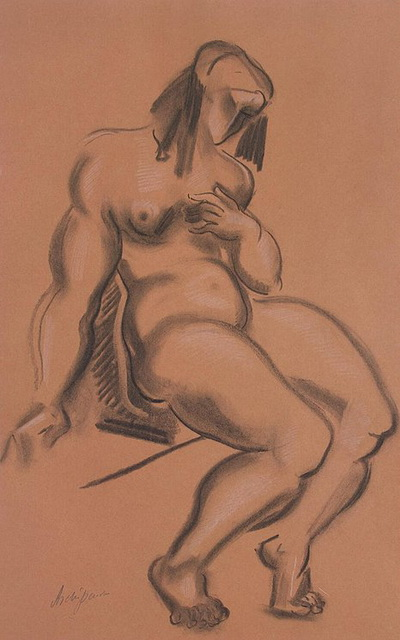 1920-е Seated-Female-Nude-with-Left-Hand-at-Breast (400x640, 83Kb)
