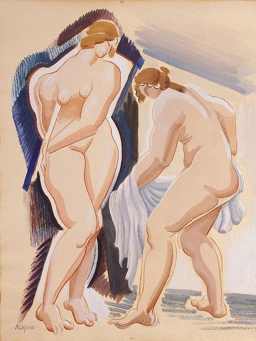 1921 Two-Nude-Female-Figures-with-a-Cloth (526x700, 141Kb)