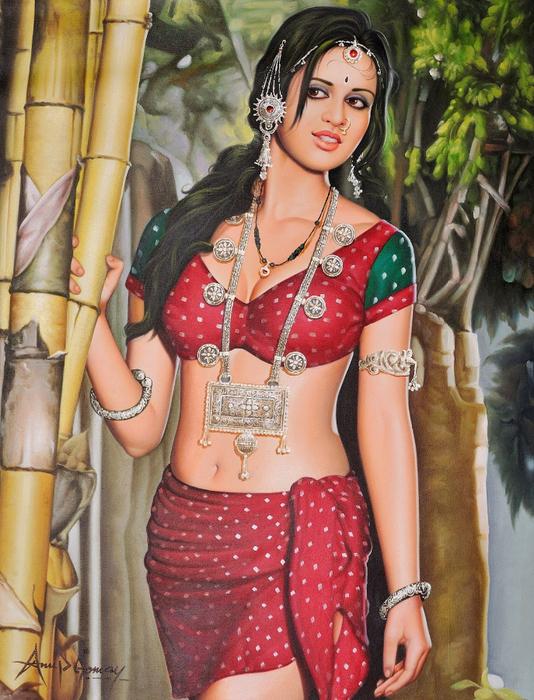 Anup Gomay - Indian artist - Catherine La Rose  (26) (534x700, 487Kb)