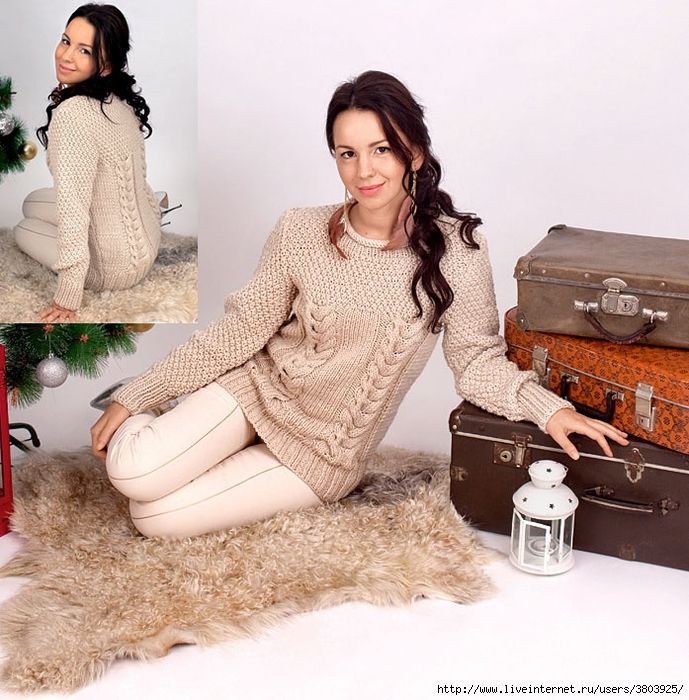 Изысканный пуловер с косами