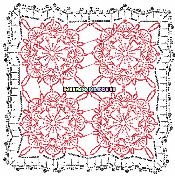 Декорирование подушек кружевом крючком. Схемы (13) (685x688, 433Kb)