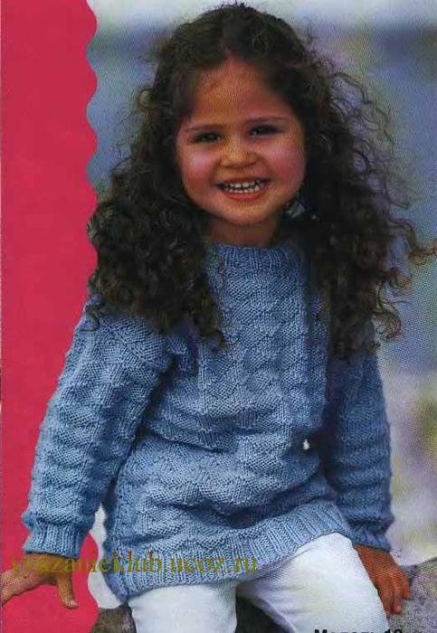 вязание спицами узорчатый джемпер для девочки 5 8 лет Lvicaa