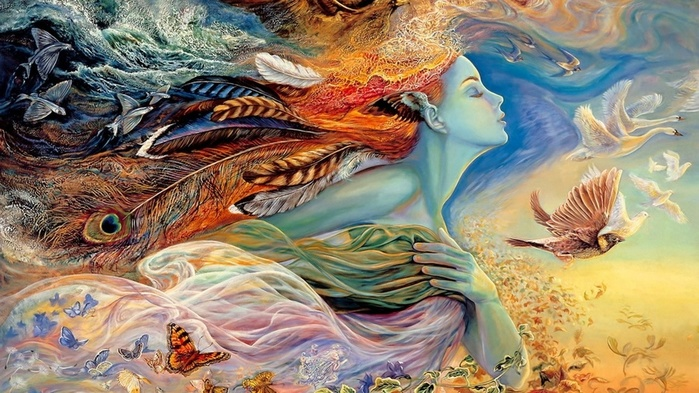 ws_Fantasy_Woman_Feathers_Animals_2560x1440 (700x393, 159Kb)