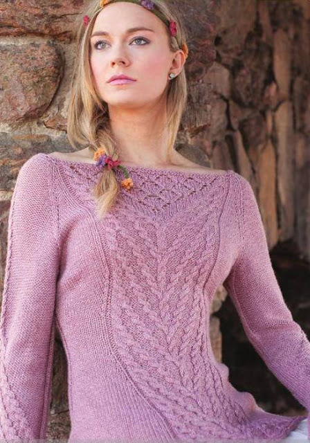 Пуловер с узором из кос«Рапунцель»