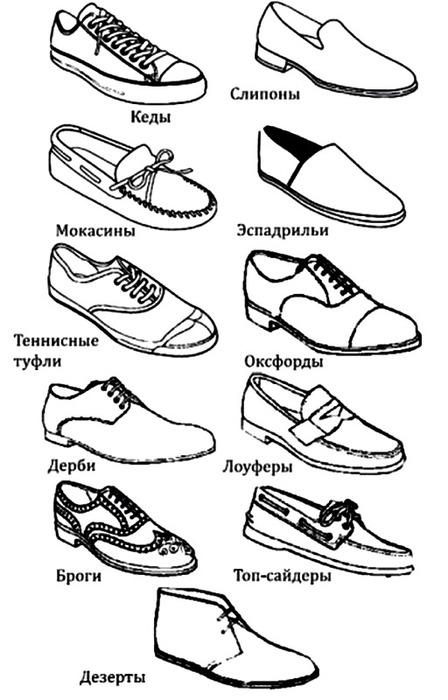 виды мужской обуви названия с картинками известный русский
