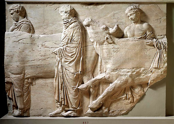 Detail of the marble frieze of the Parthenon, dating to about 480 B.C., now in the Acropolis Museum, Athens. (600x431, 113Kb)