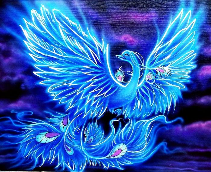 Открытки синяя птица, нарисовать