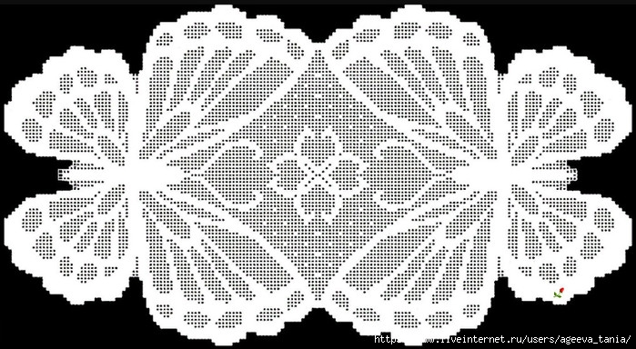 Салфетка «Бабочки», филейное вязание крючком
