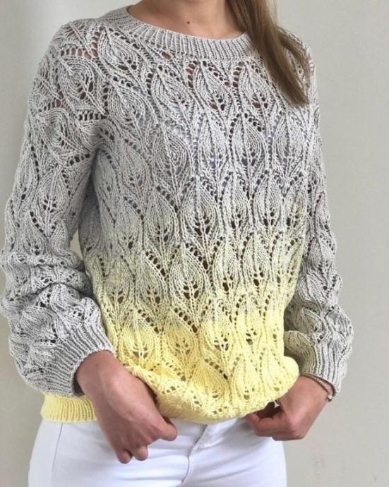 Эффектный узор спицами для пуловера